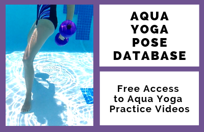 woman using dumbbells underwater to highlight the aqua yoga pose database