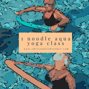 watercolor graphic of women doing aqua yoga with pool noodles