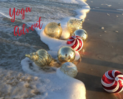 christmas ornaments floating in the surf to illustrate the yoga 12 days of christmas