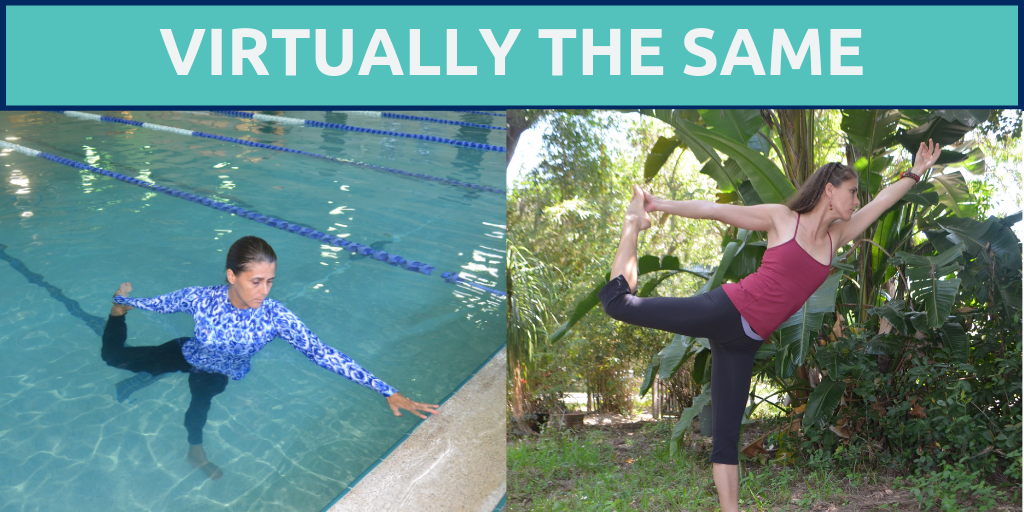 side by side comparison of dancer's pose in the water and on land