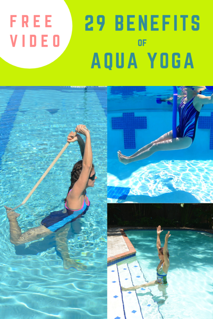 Woman doing aqua yoga - using a belt, a noodle and barbells to show what are the benefits of aqua yoga