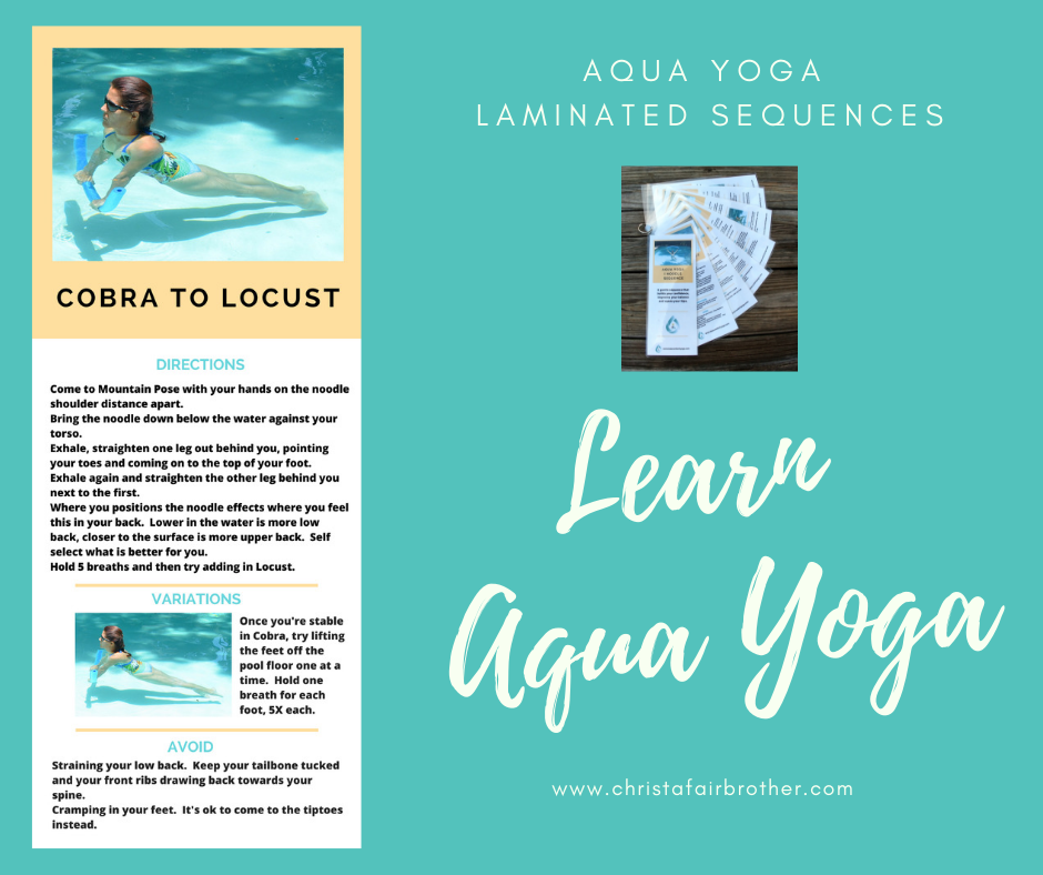 card showing aqua yoga sequence including cobra pose that you can buy laminated