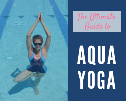 woman doing tree pose in the pool