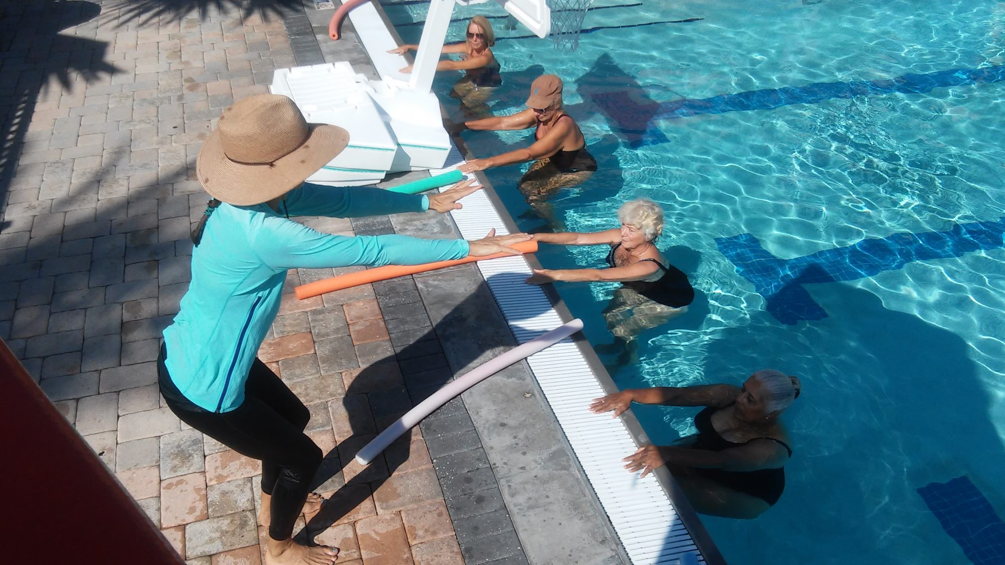 christa fairbrother teaching from the pool deck