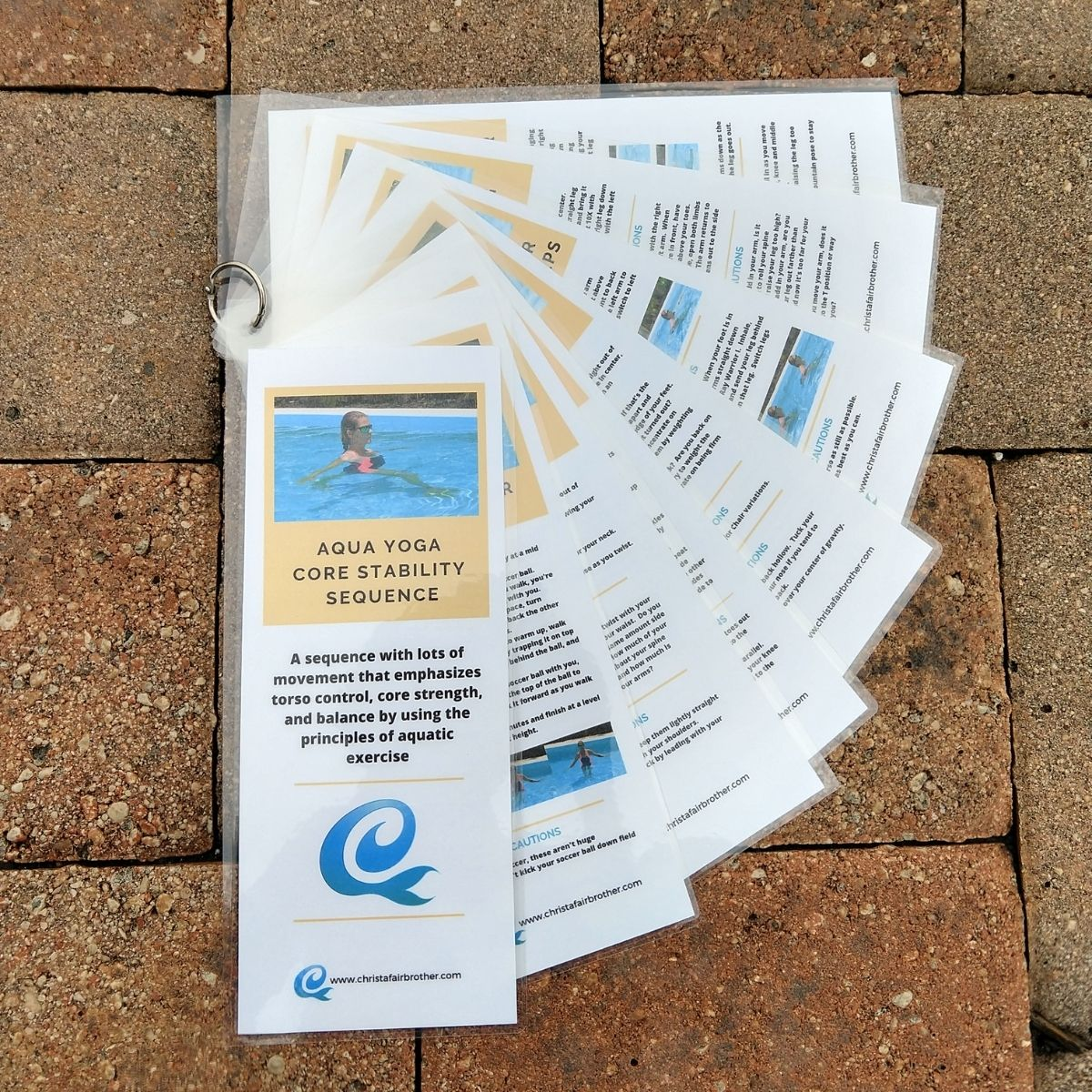 product image for aqua yoga sequence- core strength laminated cards