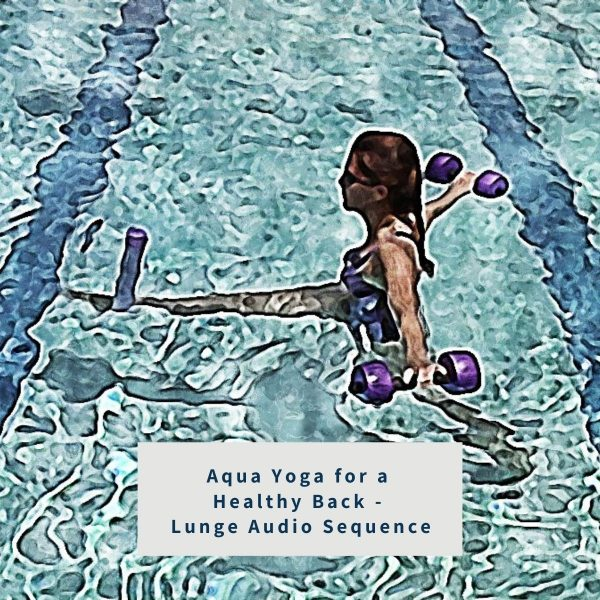 illustration of a woman for the product aqua yoga for a healthy back - lunge audio sequence