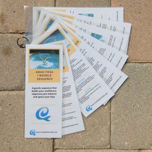 aqua yoga laminated cards with one pool noodle
