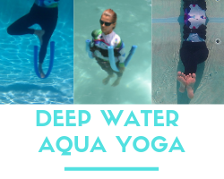 woman doing three deep water yoga poses