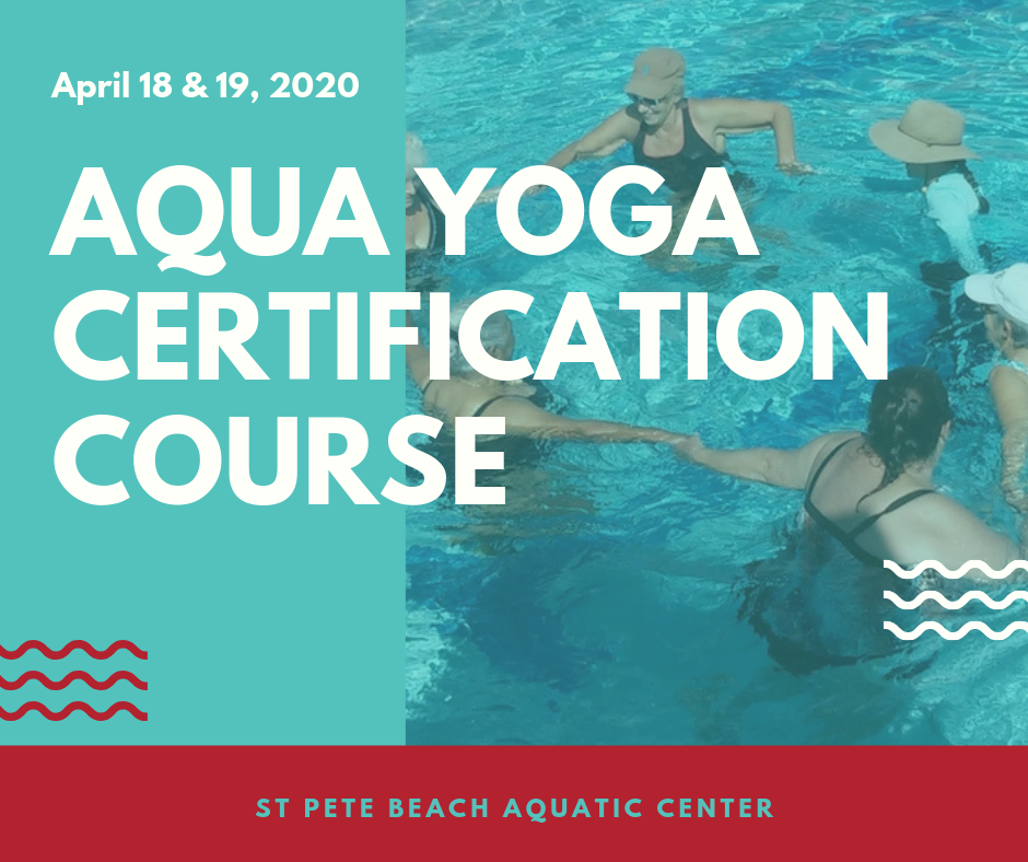 graphic with women in the pool advertising an aqua yoga certification course