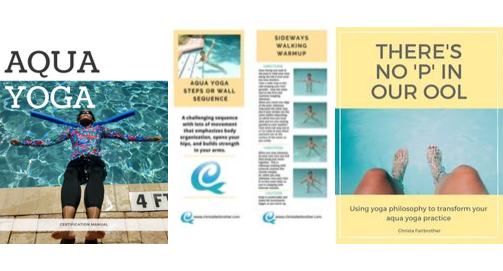 images of the resources available for download during the aqua yoga online certifiication course