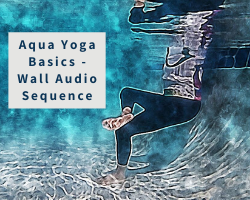 underwater watercolor of a woman in figure 4 pose in the pool to show the aqua yoga audio sequences