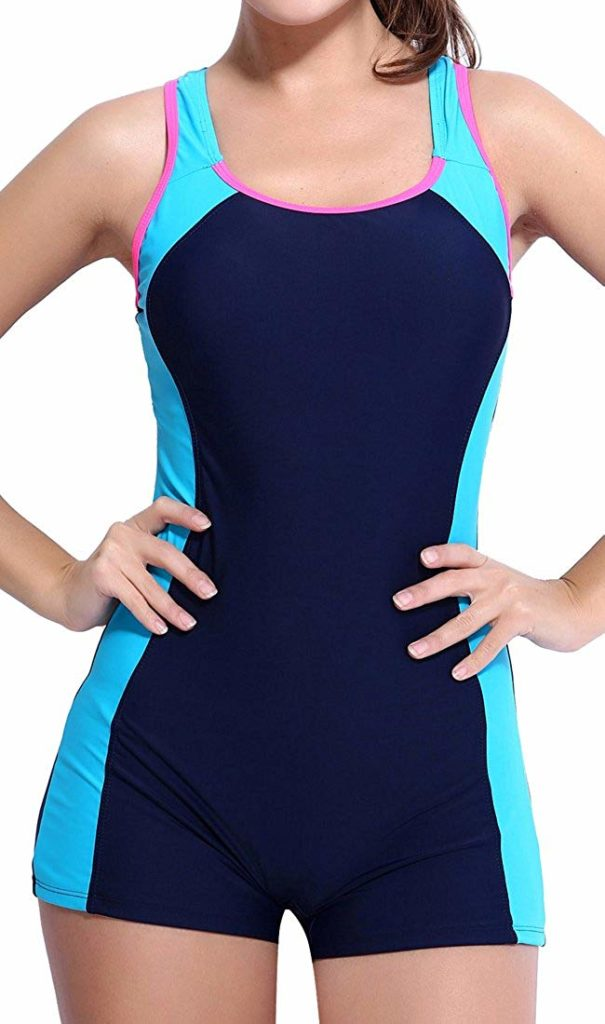 woman in a shorty swimsuit for the aqua yoga gift guide