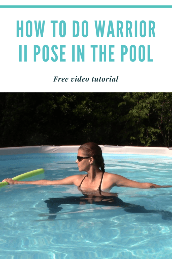 Picture of a  woman demonstrating how to do  warrior ii pose in the pool with one pool noodle