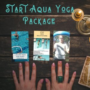 tarot cards illustrating the items and support in the beginners aqua yoga package
