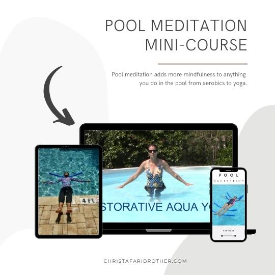 pictures of women meditating in the pool shown on a phone, a tablet and a laptop to show how you can access the pool meditation course