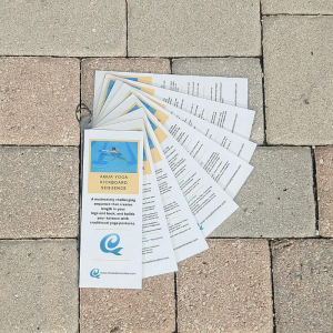 all the cards in the traditional aqua yoga sequence shown on the pool deck
