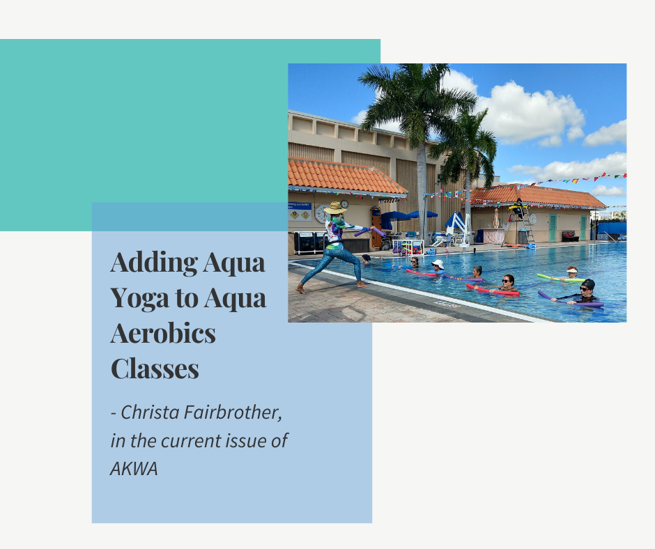 Woman teaching aqua yoga on the pool deck to a group class to show you can add aqua yoga in aqua aerobics classes