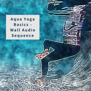underwater watercolor illustration of a woman in figure 4 pose for the aqua yoga basics audio sequence