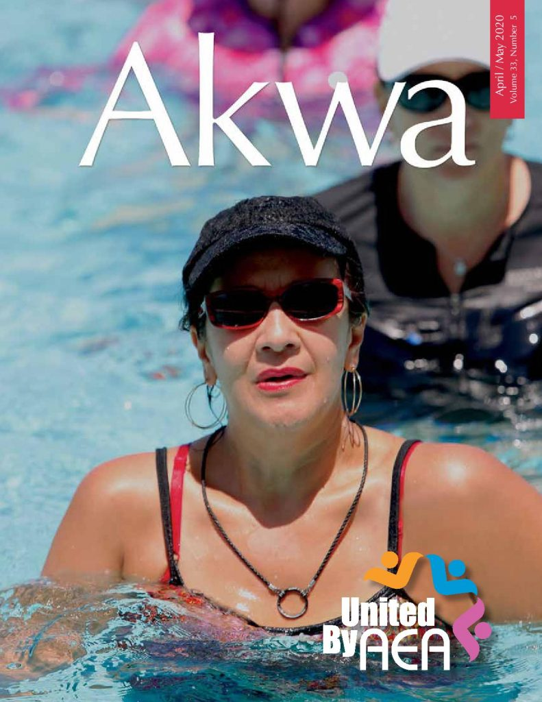 Cover of AKWA magazine which published the article on how to add aqua yoga in aqua aerobics classes