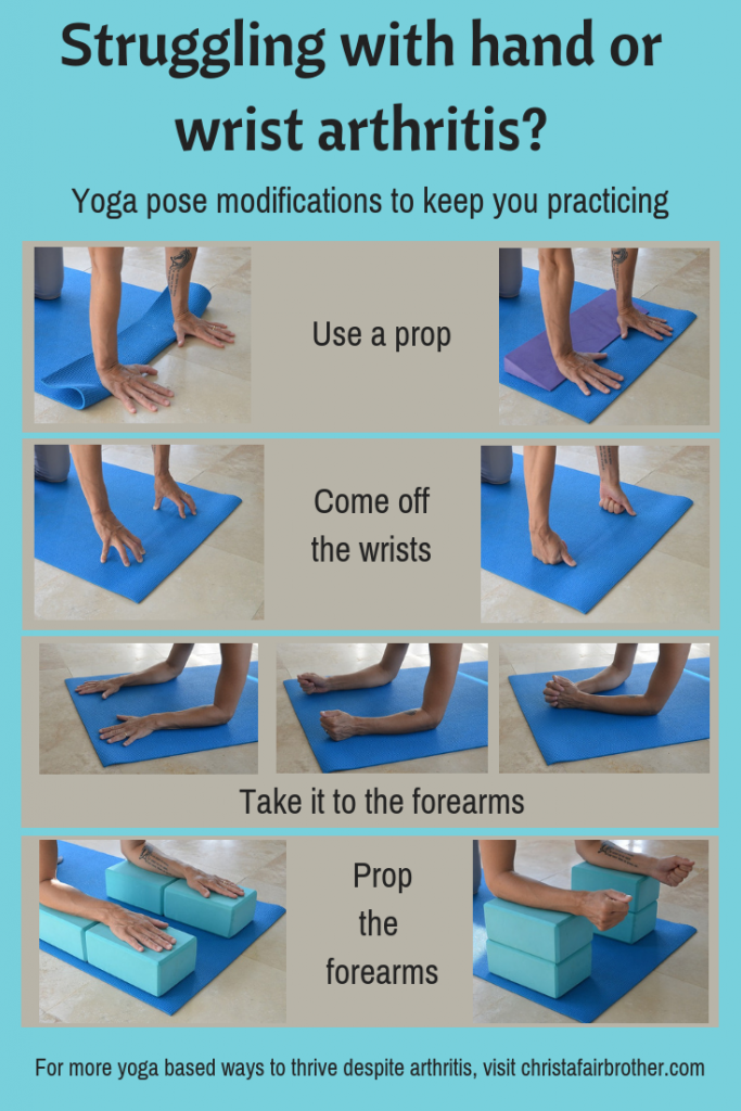 Infographic showing lots of modifications for yoga for arthritic hands