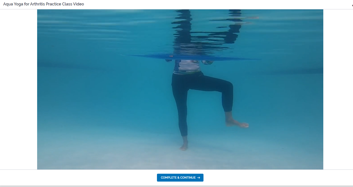 screenshot of the aqua yoga for arthritis video