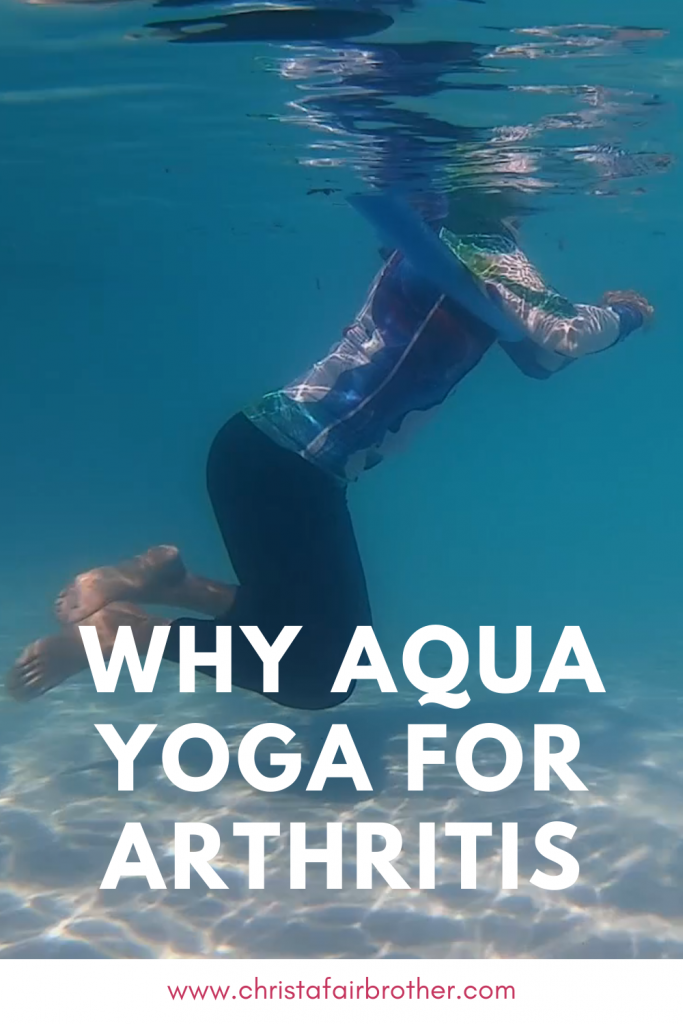 Woman on a pool noodle shown underwater to illustrate why aqua yoga for arthritis