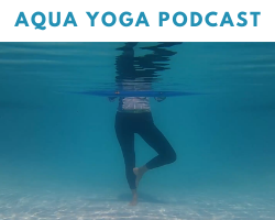 woman doing aqua yoga while holding a pool noodle in tree pose shown under water to illustrate what was discussed on the aqua yoga podcast