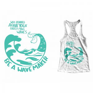 picture illustrating the aqua yoga tank tops with the graphics and the tank top