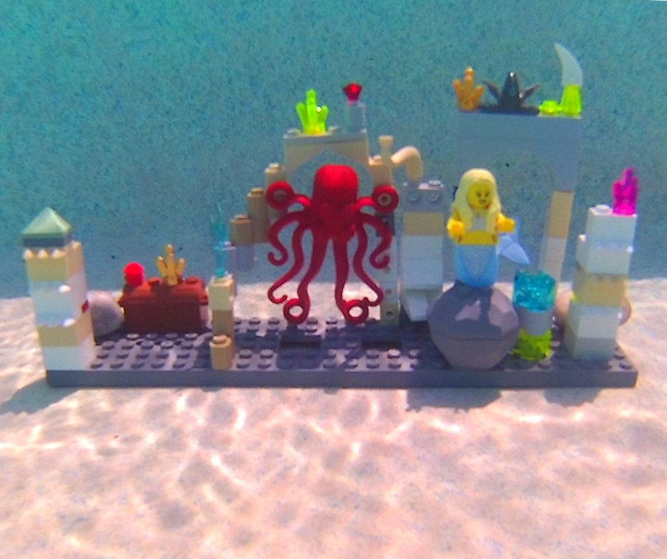 Legos underwater with mermaid in Atlantis