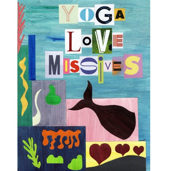 cover image for the yoga love missives journal that shows a whale and marine life in a collage inspired by matisse