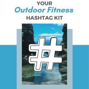 a tropical cove with the hashtag symbol superimposed on top to illustrate the outdoor fitness hashtag kit