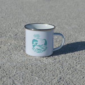 metal aqua yoga cup shown on the sand