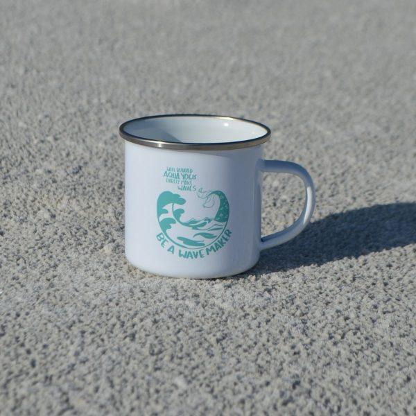 metal aqua yoga cup shown on the sand
