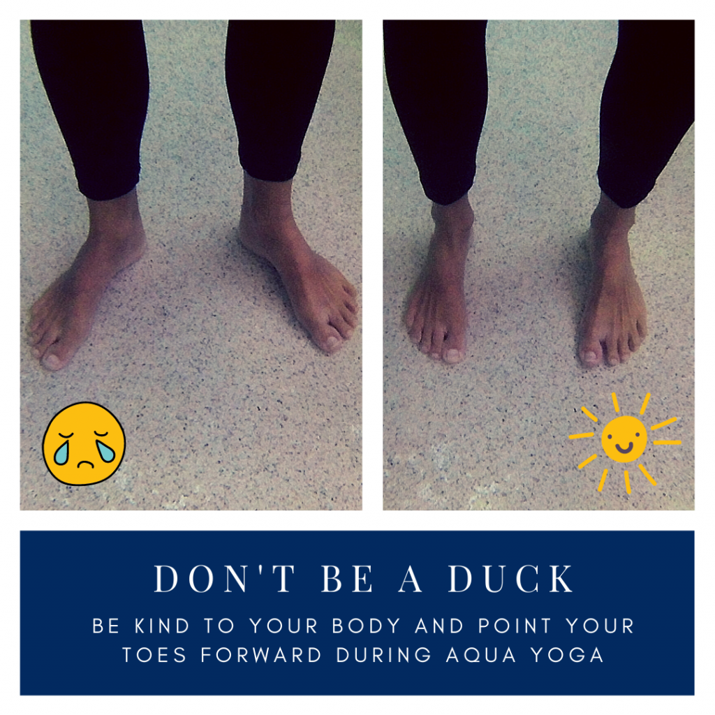 Underwater photos of feet in aqua yoga.  Water yoga do's and don'ts include parallel feet.