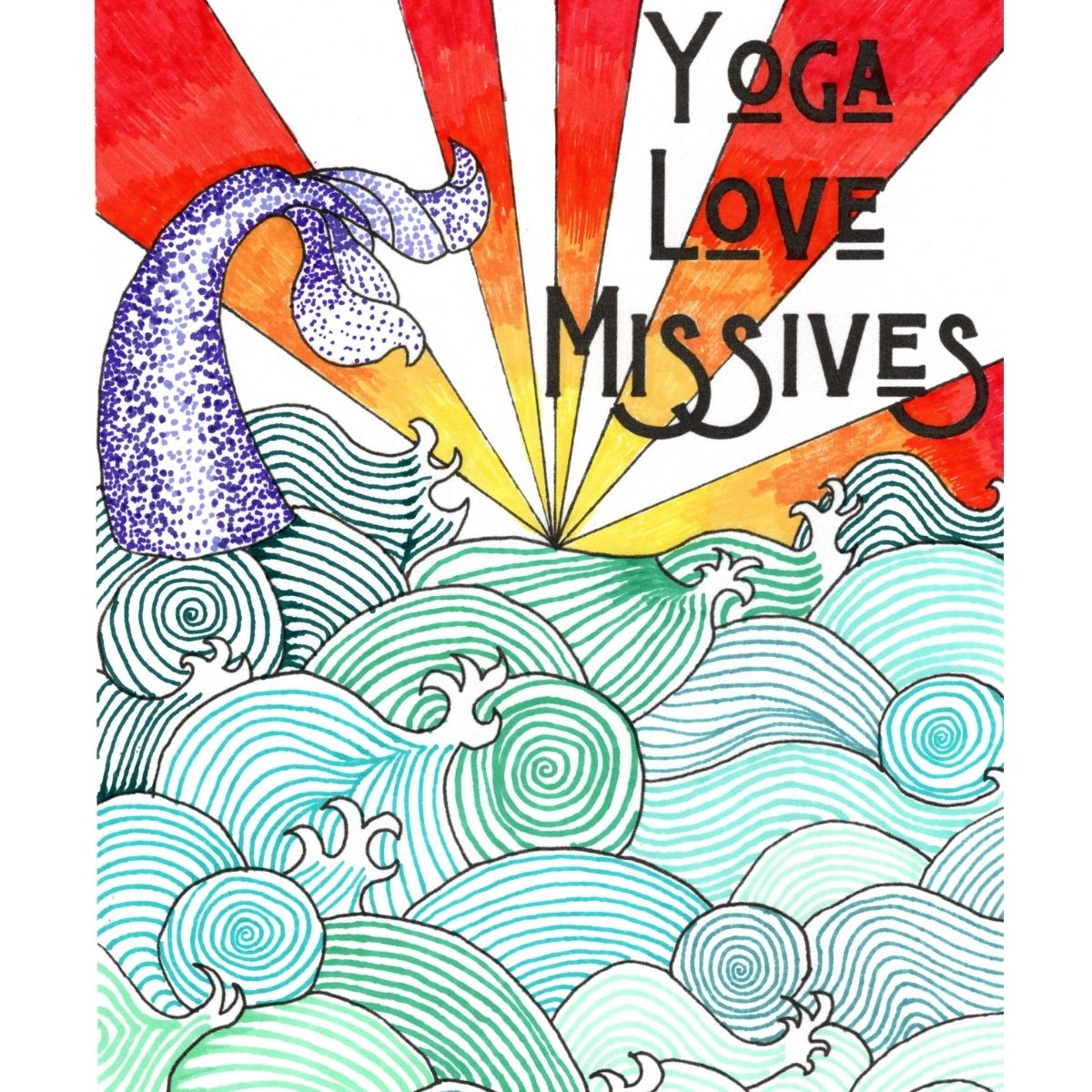 cover of the yoga love missives book showing a mermaid tail and waves