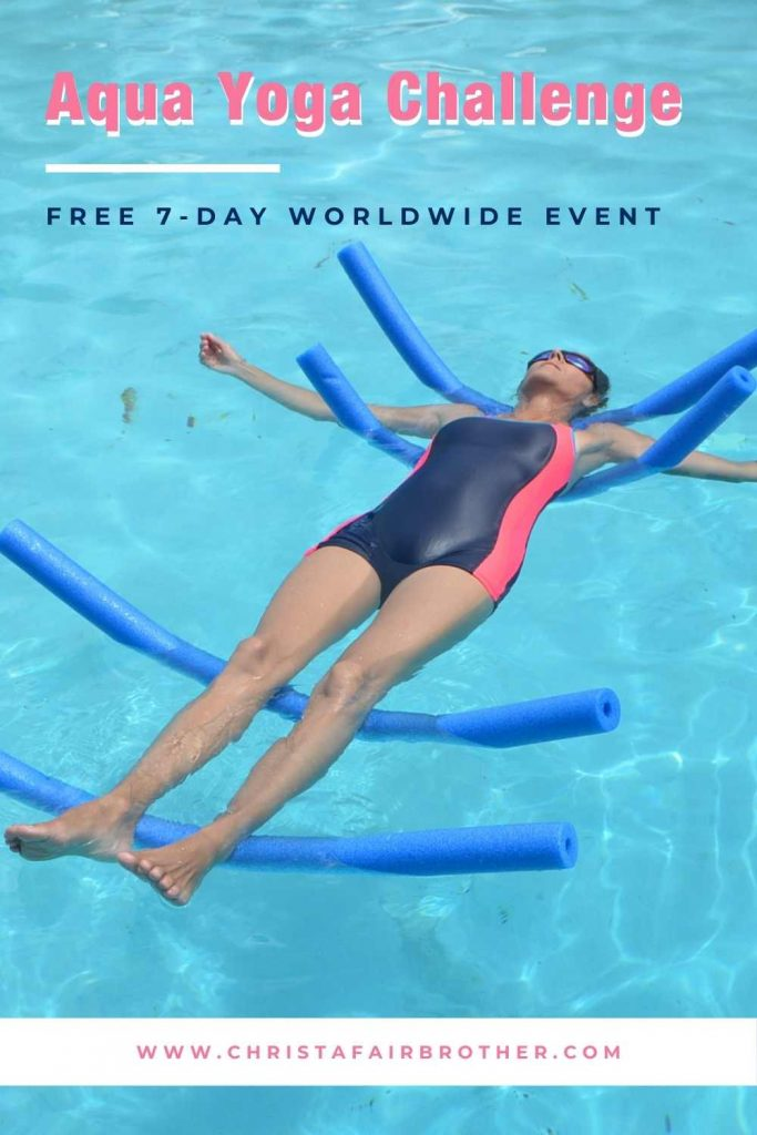 Woman floating on four pool noodles doing a floating meditation in the pool on a poster announcement for the aqua yoga challenge