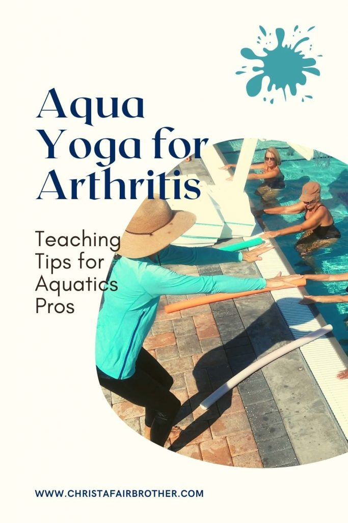 Woman on the pool deck teaching aqua yoga chair pose to a group of ladies with arthritis to illustrate Aquatic Exercise Arthritis Teaching Tips