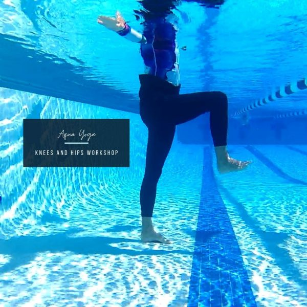 woman in the pool with one leg raised and bent to show what content is covered in the aqua yoga knees and hips workshop