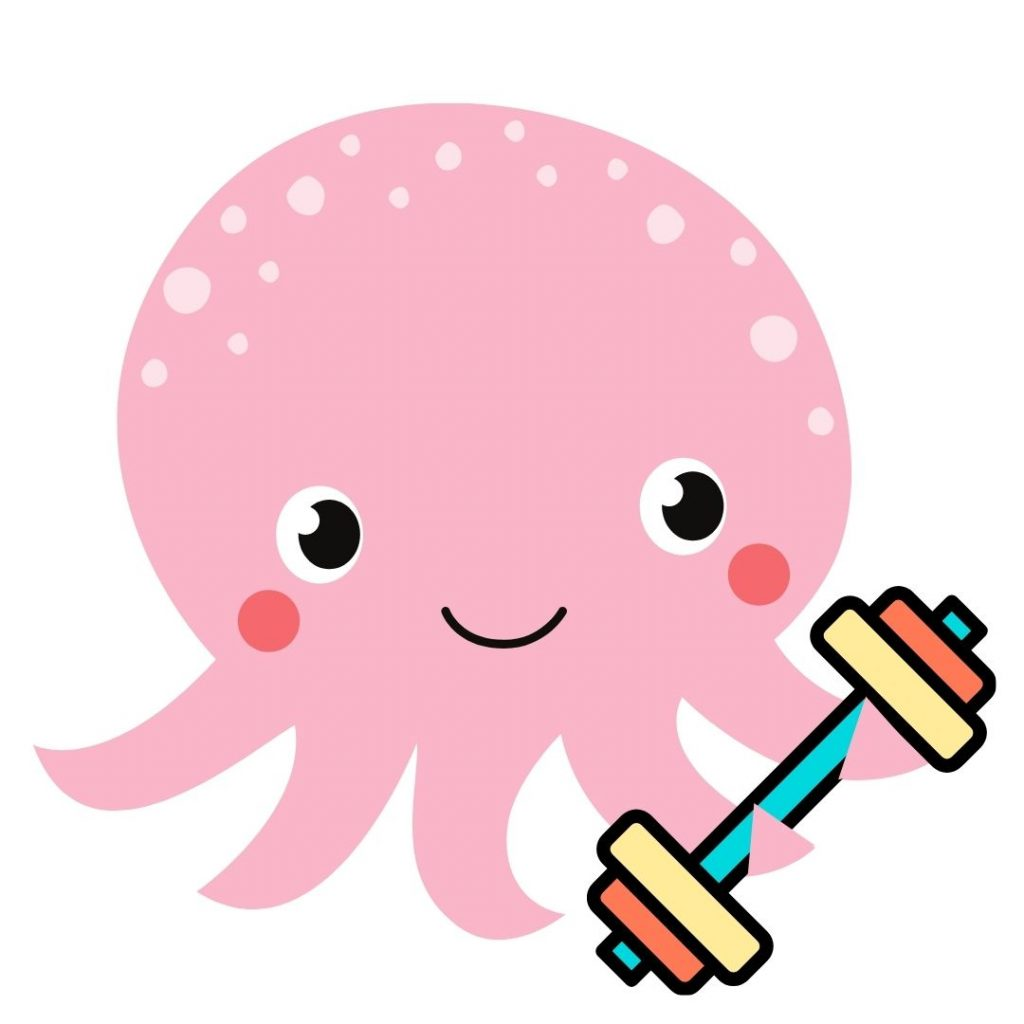 Pink octopus with an aquatic dumbbell in two of its tentacles as part of the aqua yoga sticker collection.